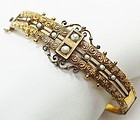 Victorian Gold Fill and Pearl Bangle Bracelet - Etruscan Design