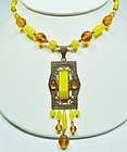 Authentic Art Deco Czech Bead and Pendant Necklace
