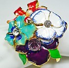 Huge New Kenneth Lane Hinged Flower Bangle