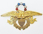Art Deco Joseff Patriotic Brooch - World War II Era