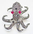 Kenneth Lane Rhinestone Octopus Brooch - NWT