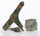 Incredible Bronze Ge Axe, Buckle and Finial Set