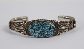 Navajo Turquoise and Silver bracelet by Sunshine Reeves