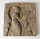 Han Dynasty Grey Pottery Tile with Musician