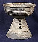 Massive Korean Silla Period Stoneware Pedestal Vessel