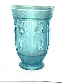 Lalique Style Blue Glass Vase