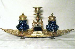 English Victorian Inkstand; Two Wells and Candleholder