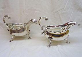 Sterling Pair of  Georgian Style Sauce Boats