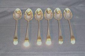 Matched Set of Six Georgian Silver Dessert Spoons; 1772