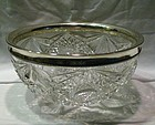 American Brilliant Period Crystal, Sterling Center Bowl