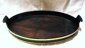 Georgian Mahogany Brass Banded Serving Tray