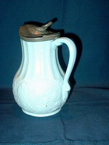 Victorian Milk or Syrup Jug with Pewter Lid; 1861
