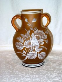 Victorian Amber Satin Glass Vase