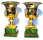 Pair of Old Paris Campana or Bell Mantle Vases