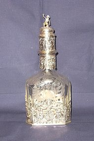 Large Etched Crystal and Silver Decanter Germany