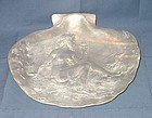 Art Nouveau Silvered Pewter Shell Dish with Nude Female