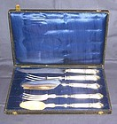 French Silver and Ivory Serving Set; 5 Pieces, Boxed