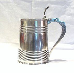 Georgian Silver Flat Top Lidded Tankard 1796