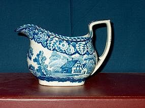 Staffordshire Blue and White Creamer