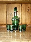 Bohemian Green Glass Decanter Set