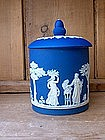 Wedgwood Jasperware Deep Blue Biscuit Jar