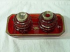 Victorian Inkstand Ruby Red Glass