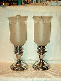 Gorham Sterling Candlesticks with Hurricane Shades