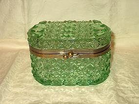 Green Glass Trinket or Jewelry Box