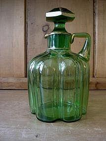 Victorian Green Glass Decanter