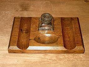 Edwardian English Oak Inkstand