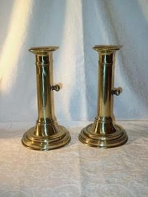 Georgian Brass Candlesticks; Side Ejector