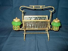 Opaline Gilt Mounted Inkstand or Standish