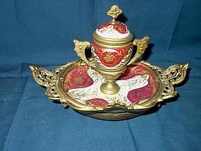 Porcelain Inkwell on Stand; Bronze Mount