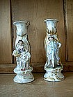 Pair of Old Paris Porcelain Figural Candlesticks