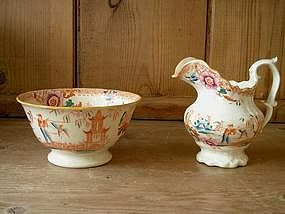 Staffordshire Chinoiserie Creamer and Sugar