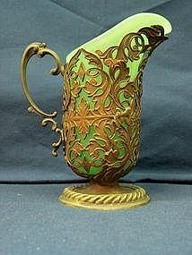 Silver Plate Mounted Green Opaline Creamer