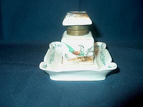 Small Porcelain Inkwell with Birds