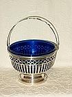 Sterling Silver Sugar Basket Cobalt Blue Liner