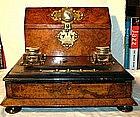 French Walnut and Brass Lap Desk Stationary Box