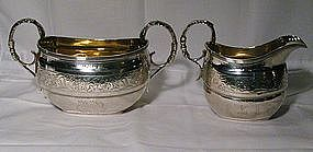 Georgian Scottish Sterling Silver Sugar and Cream Jug