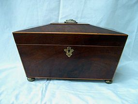 George III Regency Inlaid Mahogany Tea Caddy