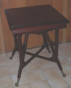 Mahogany Square Side Table; Brass Ball and Claw Feet