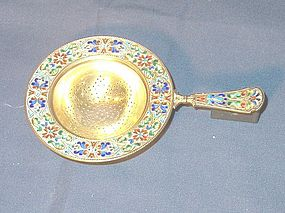 Continental Champleve and Silver Tea Strainer