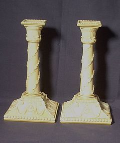 Pair of Royal Worcester Candlesticks; 1884