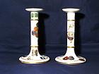 Pair of Porcelain Royal Worcester Candlesticks