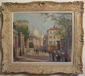 Jean Salabet Montmartre Scene with Sacre Coeur