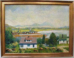 "Franklin Watkins Oil on Canvas ""Milltown"""