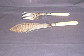 Victorian Sheffield Silver Fish  Set; Ivory Handles