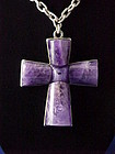 William Spratling Silver & Amethyst Cross Necklace
