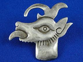 HECTOR AGUILAR 940 Silver Codex Nuttall Animal Head Pin
